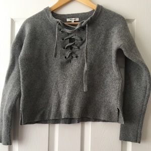 Madewell lace up Wool Cropped Sweater